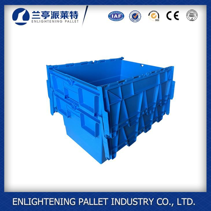 Plastic Crate with Foldable Lids Plastic Container Attached Lid