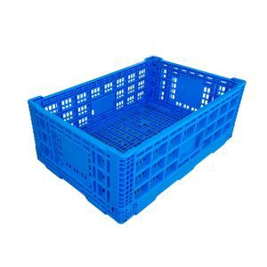 600*400*220mm Mesh Style Folding plastic small crates factory